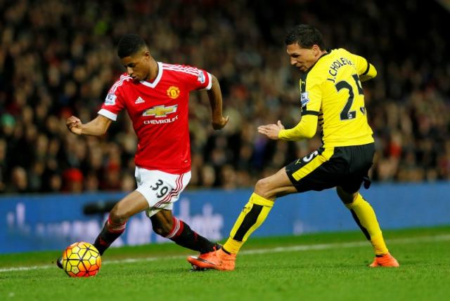 Manchester United's Marcus Rashford in action with Watford's Jose Holebas Action Images via Reuters / Jason Cairnduff Livepic
